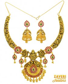 Antique Temple Jewelry Set 22K Gold ( 22K Antique Necklace Sets )
