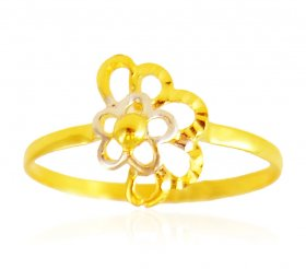 22Kt Gold Two Tone Ring ( 22K Gold Rings )