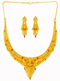 22k Gold Three Tone Necklace  Set