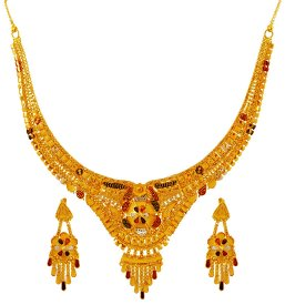 22k Fancy Three Tone Necklace Set ( 22K Gold Necklace Sets )
