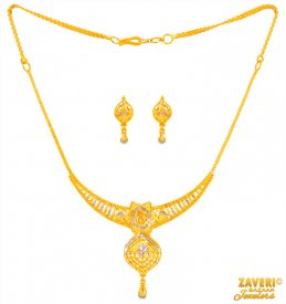 22 Karat Gold two tone Necklace Set ( 22K Light Necklace Sets )