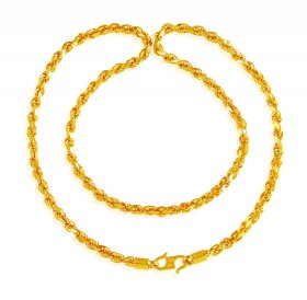 22 Karat Gold Rope Chain 20 In ( Mens Gold Chain )