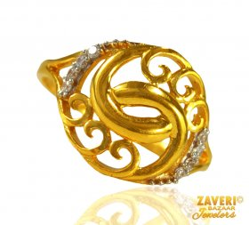 22 kt Gold Cubic Zircon Ring ( Stone Rings )