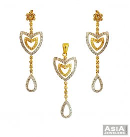 22K Fancy 2 Tone Long Pendant Set  ( Gold Fancy Pendant Sets )