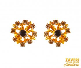 22k Designer Floral Earring ( Gemstone Earrings )