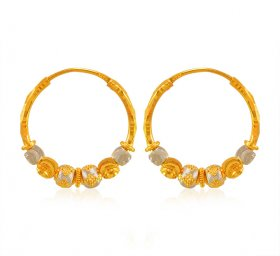 22 Kt Gold Balls Two Tone Hoop ( 22K Gold Hoops )