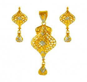 22 Kt Gold Two Tone Pendant Set