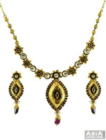22Kt Antique Kundan Necklace Set ( 22K Antique Necklace Sets )