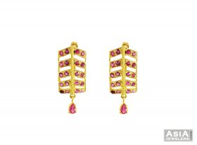 22K Clip On Ruby Earrings