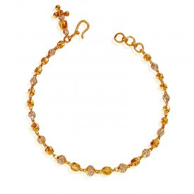 22 Karat Gold Two Tone Bracelet ( 22K Ladies Bracelets )