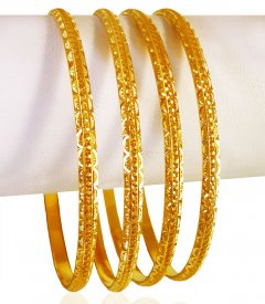 22kt Yellow Gold Bangle Set (4 PC) ( 22K Gold Bangles )