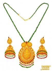 Antique Temple Necklace Set ( 22K Antique Necklace Sets )