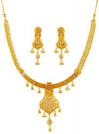22k Gold Fancy Necklace Set ( 22K Gold Necklace Sets )