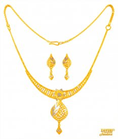Two Tone Necklace Set 22 Kt Gold