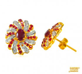 Ruby and CZ Earrings (22 Kt Gold) ( Gemstone Earrings )