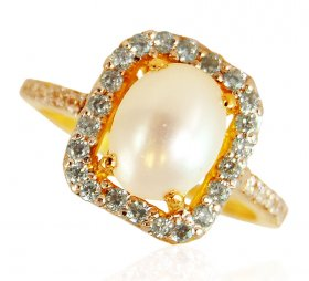 22 Karat Gold Ring With Pearl ( Gemstone Rings )