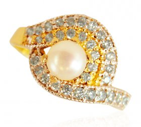 22K Gold Pearl Ring ( Gemstone Rings )