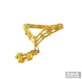 22K Gold Ring With Dangling ( 22K Gold Rings )