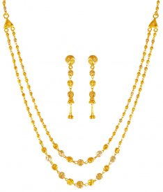 22K Gold Two Tone Necklace Set ( 22K Light Necklace Sets )