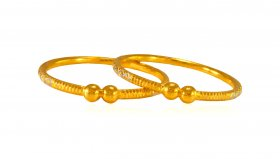 22K Gold Fancy Baby Kada (2 pc)