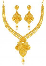 22kt Gold  Two Tone  Necklace Set