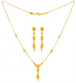22KT Gold balls necklace and earring set