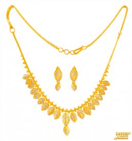 Fancy 22k Light two tone Set  ( 22K Light Necklace Sets )