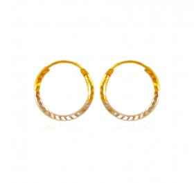 22K Gold Two Tone Hoop Earrings  ( 22K Gold Hoops )
