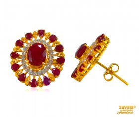 22 Kt Fancy Ruby and CZ Tops ( Gemstone Earrings )
