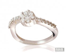 18K Fancy Wavy Style Diamond Ring ( Diamond Rings (Ladies) )