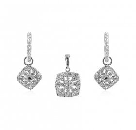 18K White Gold Diamond Pendant Set