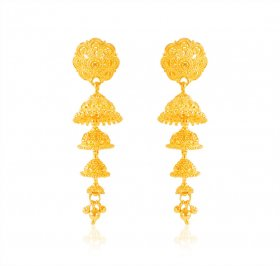 22Kt Gold Jhumki Earrings ( 22K Gold Earrings )