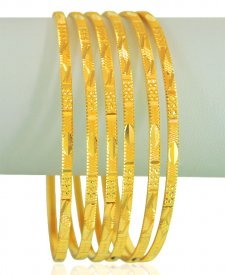 22kt Gold Machine Bangles (6 Pcs)