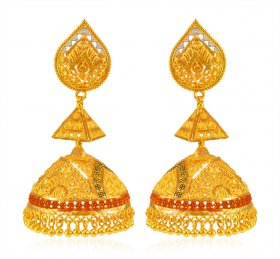 22 KT Gold Tri Colour Jhumka  ( Gold Long Earrings )