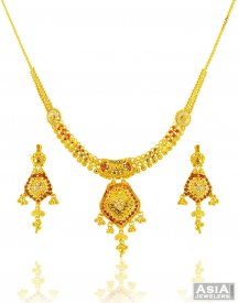 22k Filigree Tricolor Necklace Set