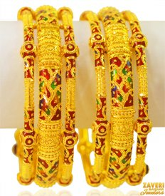 22kt Gold Fancy Kada (2PC) ( 22K Gold Kadas )