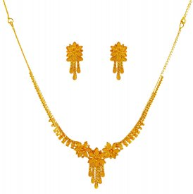 22K Gold Necklace And Earrings Set ( 22K Light Necklace Sets )