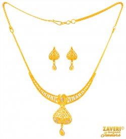 22 K Gold Necklace And Earrings Set ( 22K Light Necklace Sets )