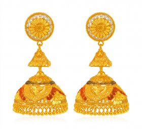 22 KT Gold Jhumka in Three Tone ( Gold Long Earrings )