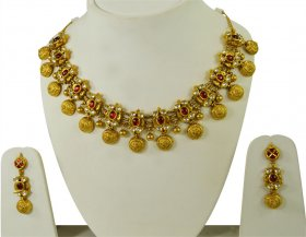 Antique 22Kt Gold Necklace Set ( 22K Antique Necklace Sets )