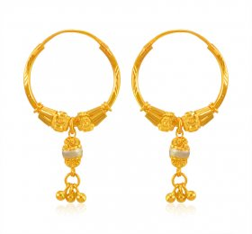 22 Kt Gold Two Tone Bali ( 22K Gold Hoops )