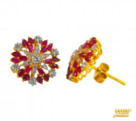 Ruby and CZ Earrings (22 Kt Gold)