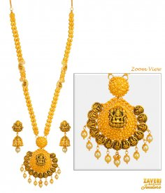 22kt Gold Temple Necklace Set ( 22K Antique Necklace Sets )