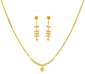 22K Gold Two Tone Set ( 22K Light Necklace Sets )