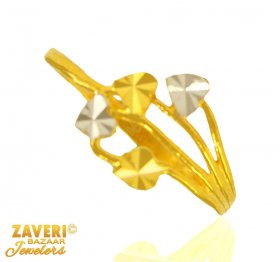 22 Kt Gold Two Tone Ring ( 22K Gold Rings )