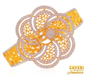 22 K Gold Bangle with Signity Stone ( Gold CZ Bangles )
