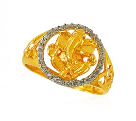 22k Ganesha 2Tone Mens Ring