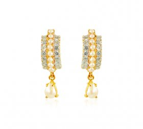 22kt Gold CZ and Pearls Earrings ( Gemstone Earrings )
