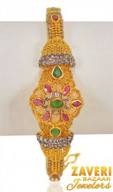 22k Gold Antique Bangle with stones ( 22K Antique Bangles )