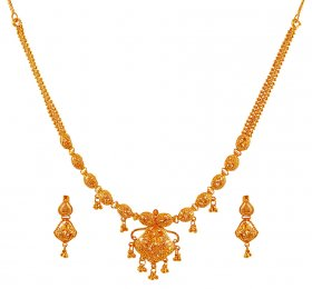 Fancy Necklace Set (22k Gold) ( 22K Light Necklace Sets )